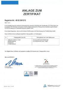 Anlage zum Zertifikat / Zertifizierung