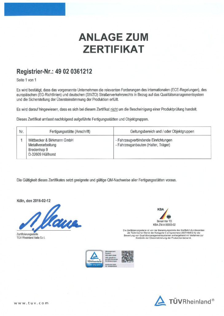 Zertifikat 2016